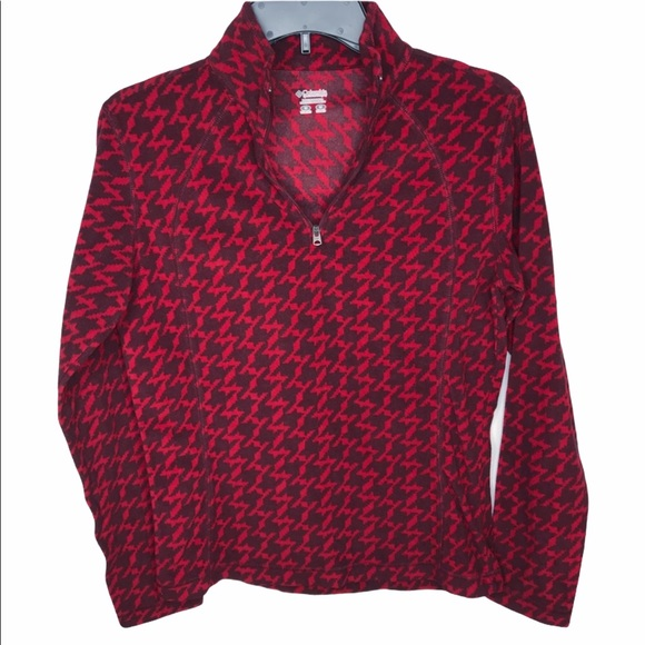- COLUMBIA/Red houndstooth Sweater/Pullover